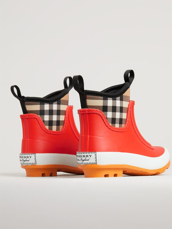 Vintage Check Neoprene and Rubber Rain Boots in Bright Red | Burberry Canada - cell image 2