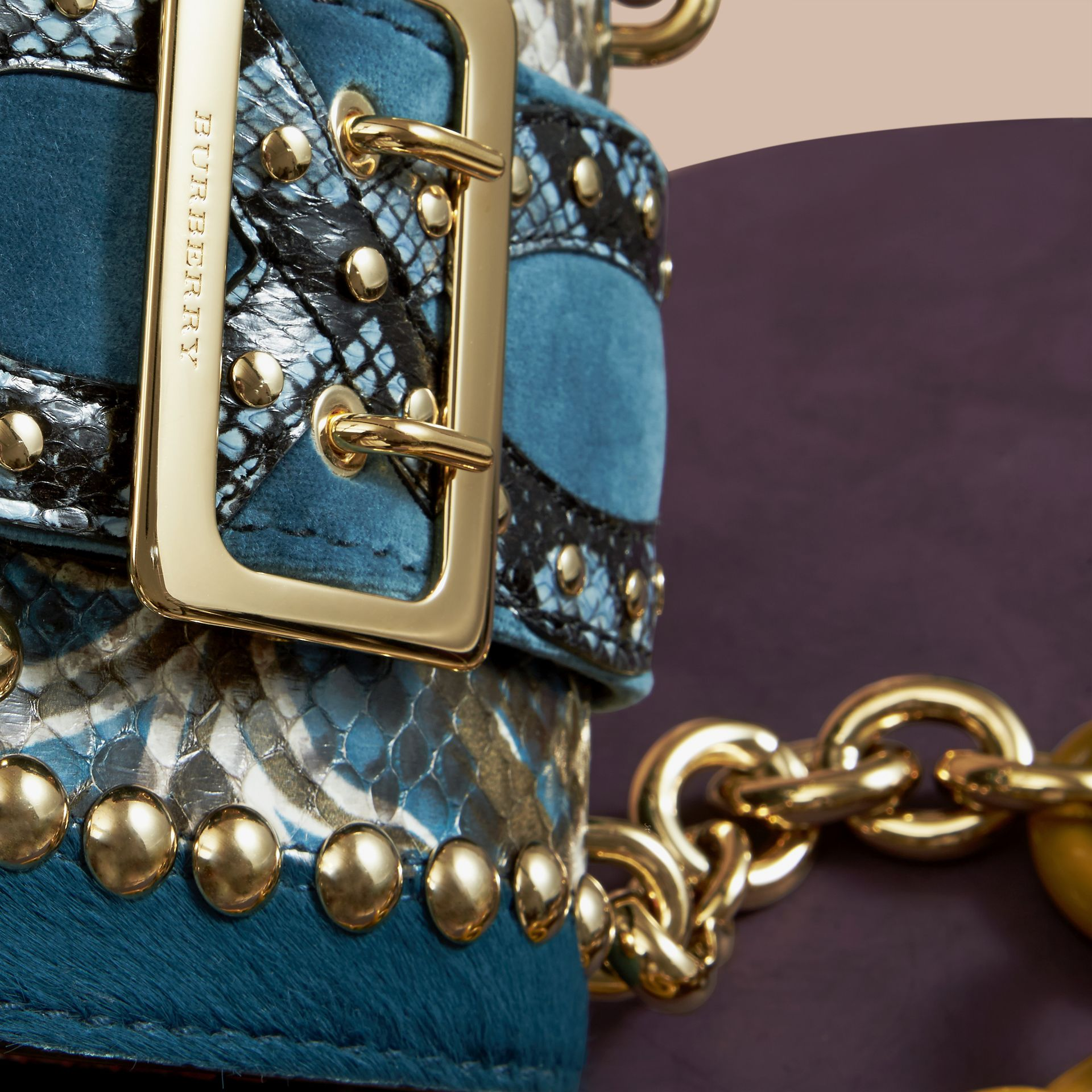 The Mini Square Buckle Bag in Calfskin, Snakeskin and Velvet in Pale Opal - gallery image 2