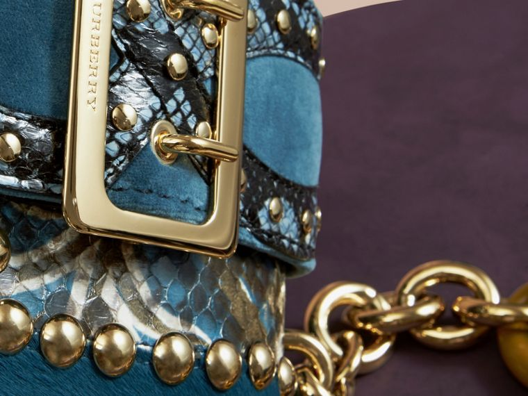 The Mini Square Buckle Bag in Calfskin, Snakeskin and Velvet in Pale Opal - cell image 1