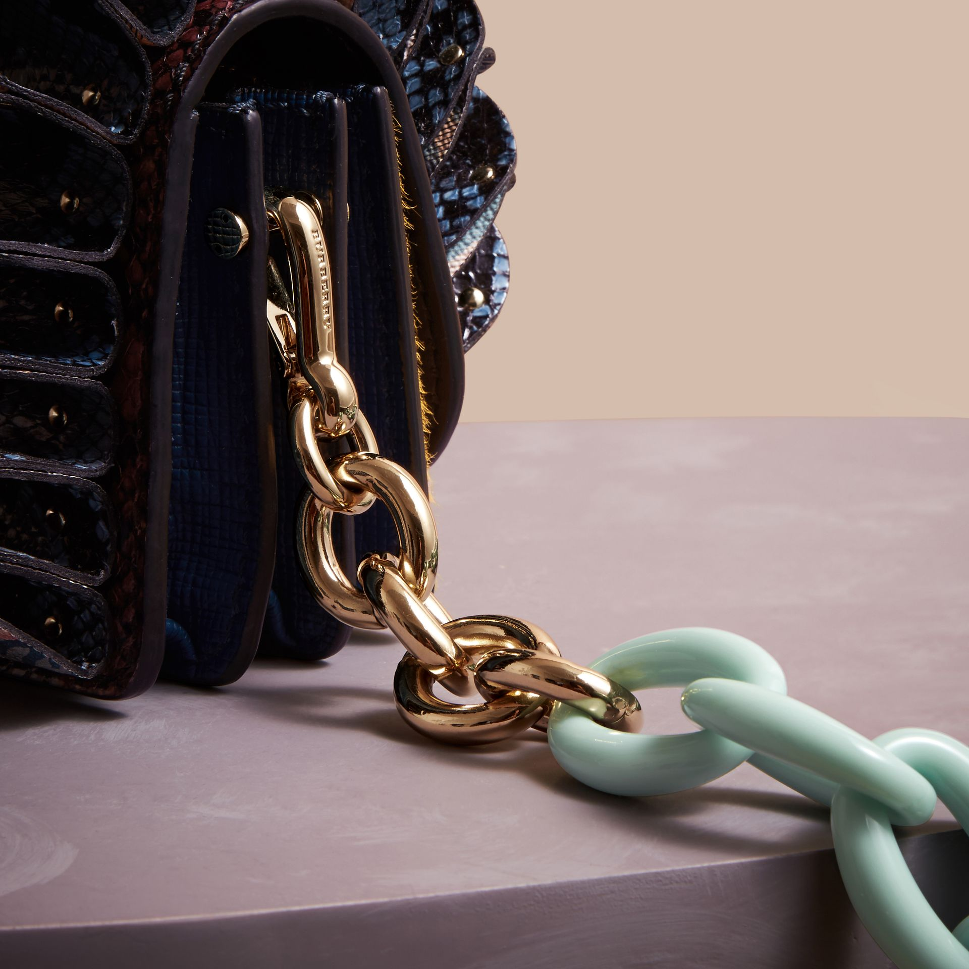 The Ruffle Buckle Bag in Snakeskin, Calfskin and Check - gallery image 5