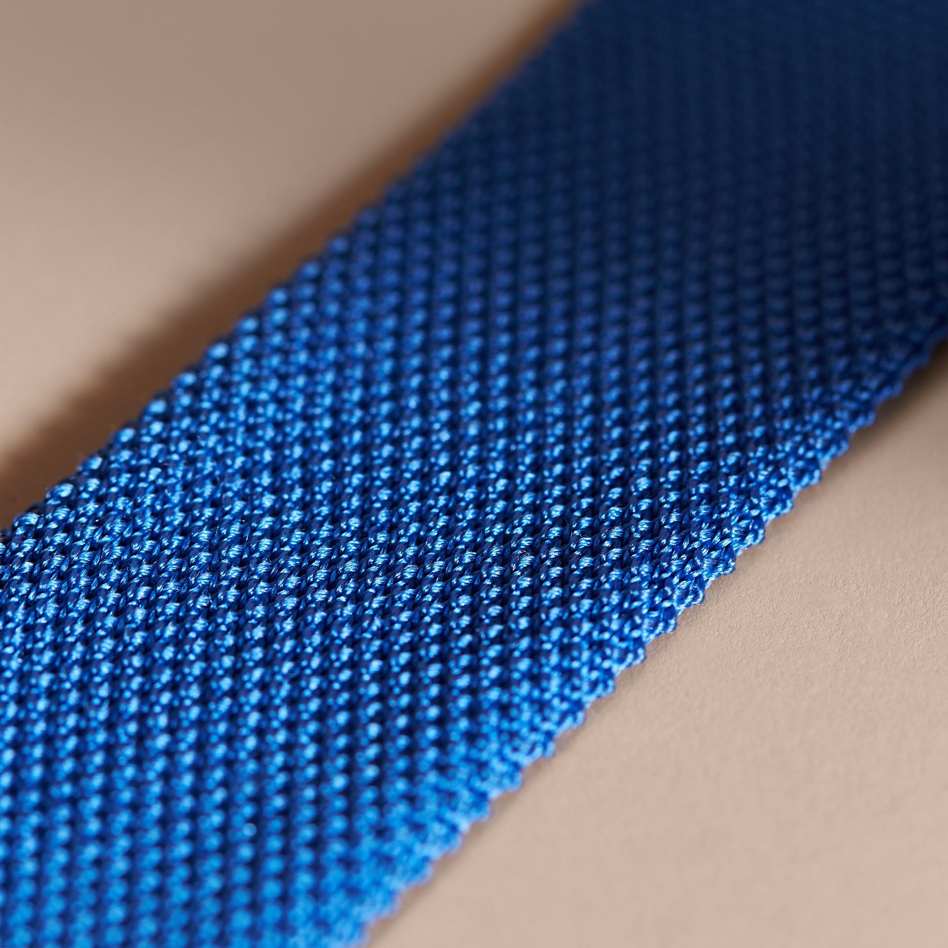 Light blue Slim Cut Knitted Silk Tie Light Blue - gallery image 2