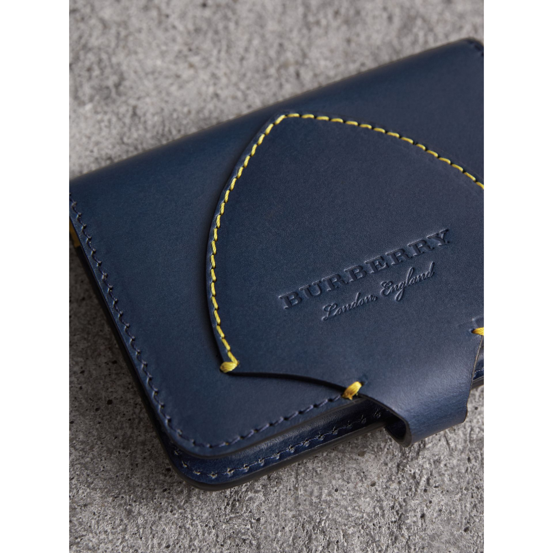 Equestrian Shield Leather Card Case in Mid Indigo | Burberry Australia - gallery image 2