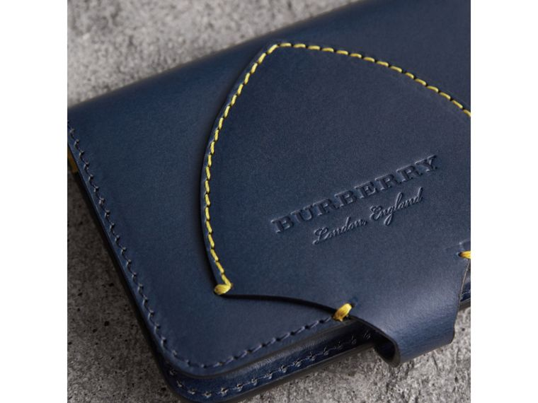 Equestrian Shield Leather Card Case in Mid Indigo | Burberry - cell image 1
