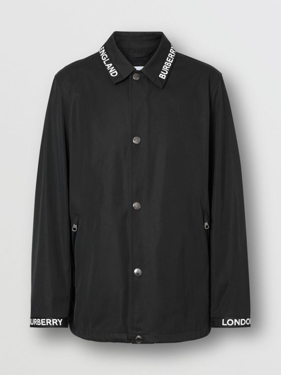 Logo Detail Nylon Cotton Twill Jacket in Black