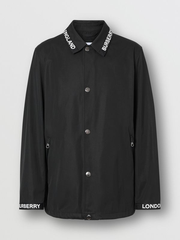 Logo Detail Nylon Cotton Twill Jacket in Black - Men | Burberry - cell image 3
