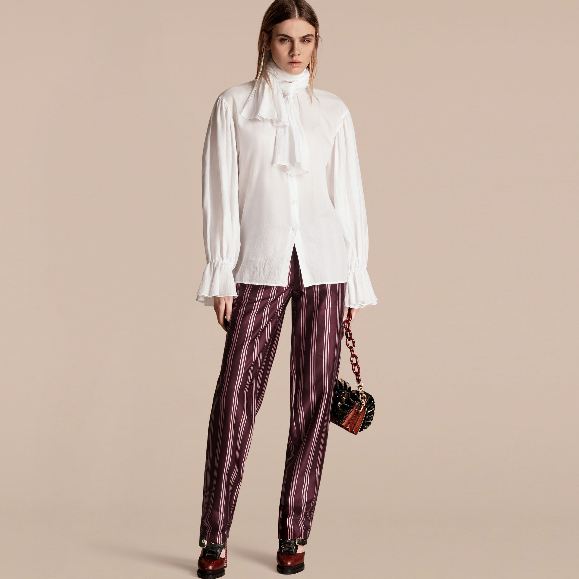 Crimson Panama Stripe Cotton Silk Satin Pyjama-style Trousers - gallery image 6