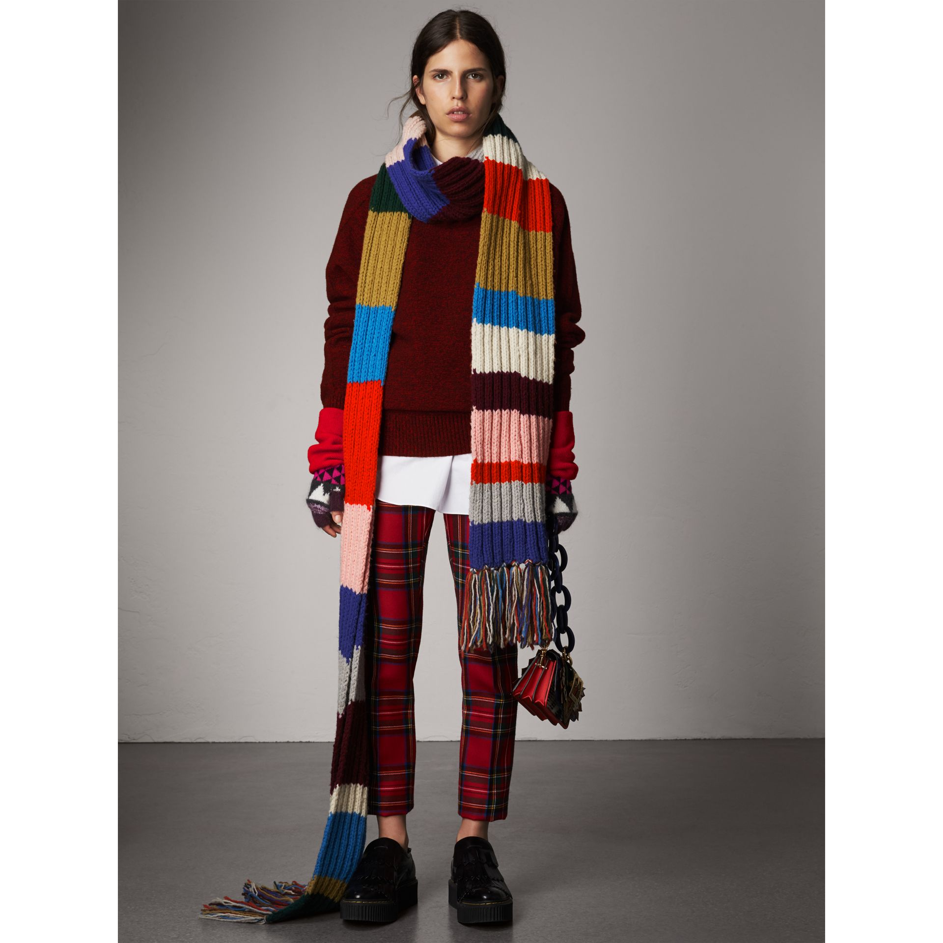 Long Striped Rib Knit Wool Scarf in Multicolour | Burberry Australia - gallery image 3