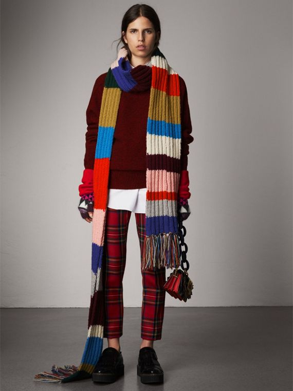 Long Striped Rib Knit Wool Scarf in Multicolour
