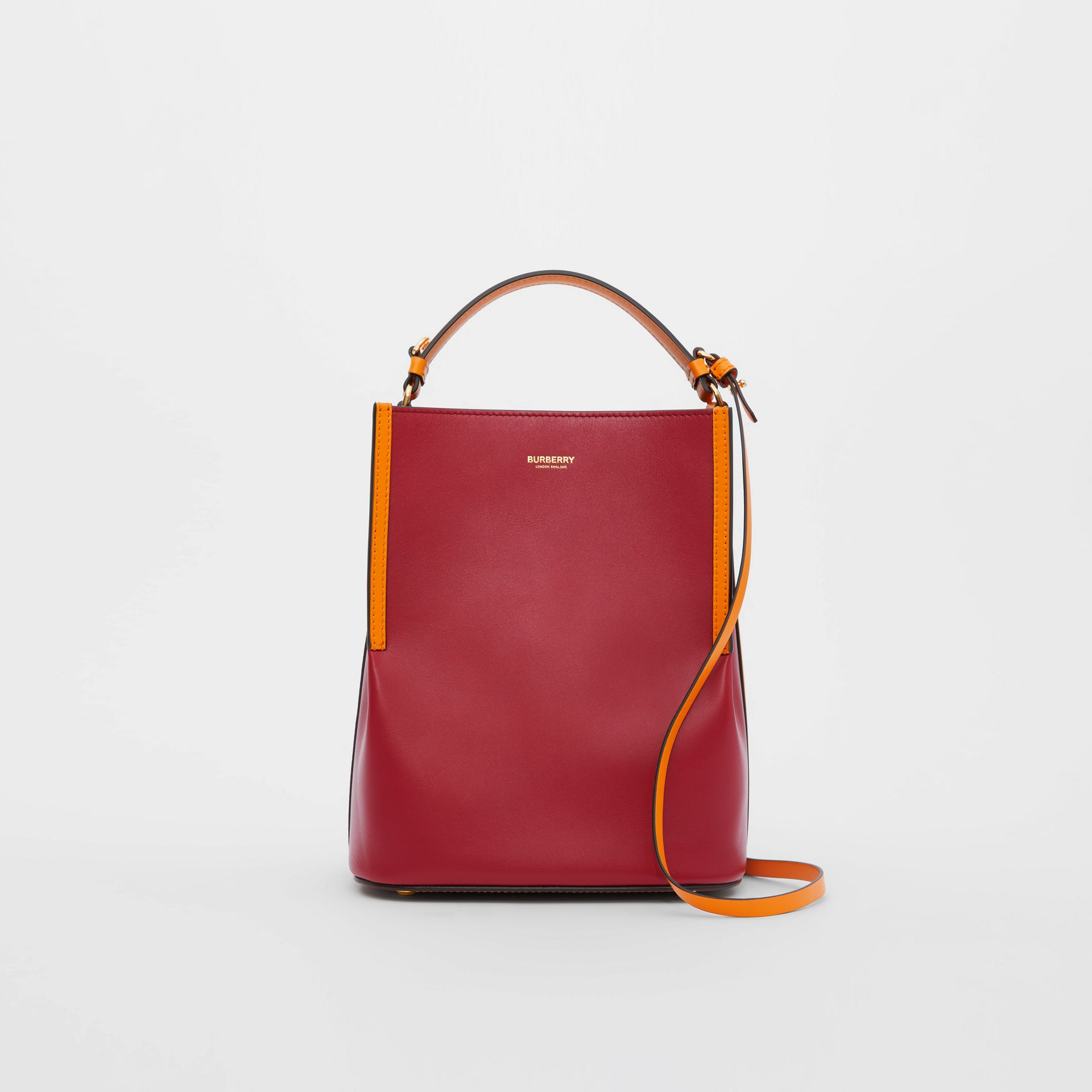 Small Two-tone Leather Peggy Bucket Bag in Crimson - Women | Burberry Australia - gallery image 0