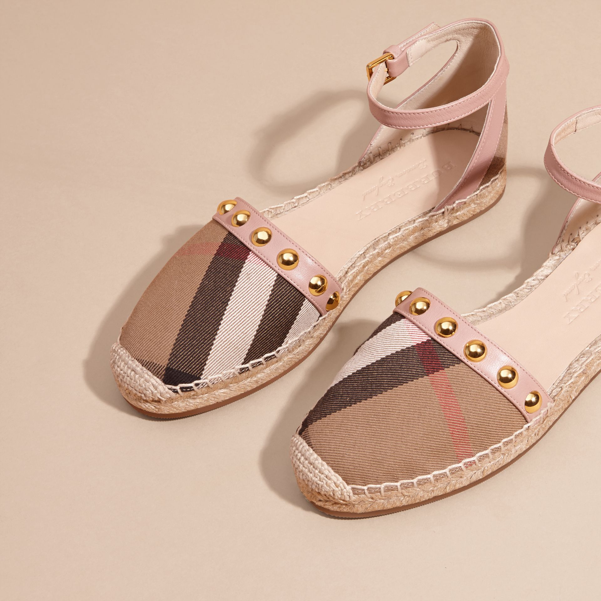Nude blush Studded Leather and House Check Espadrille Sandals Nude Blush - gallery image 3