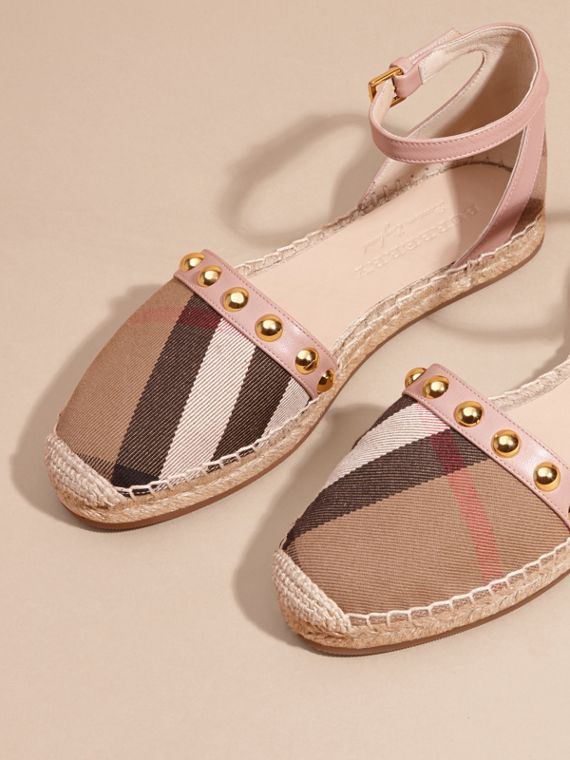 Nude blush Studded Leather and House Check Espadrille Sandals Nude Blush - cell image 2