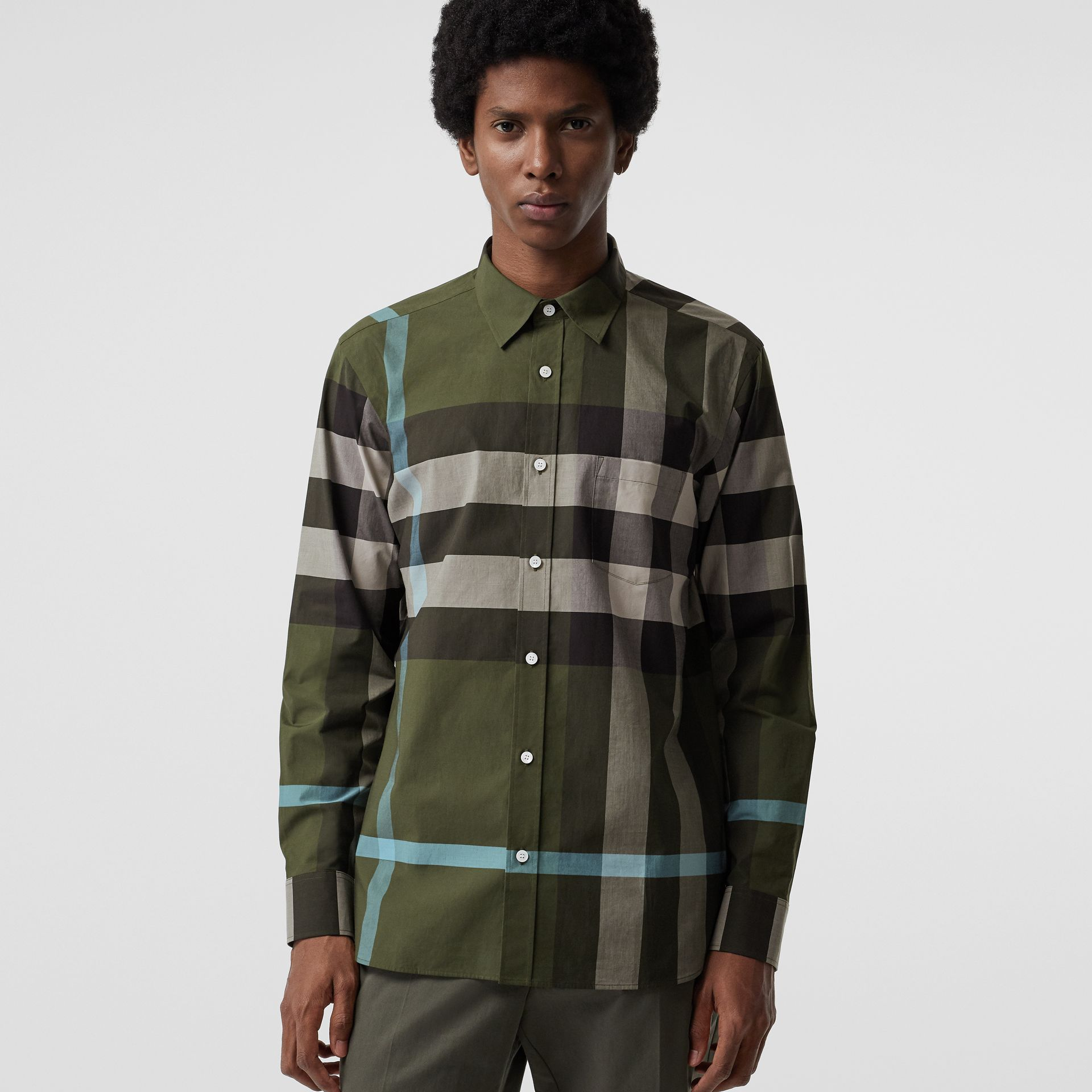 Check Stretch Cotton Shirt in Antique Green - Men | Burberry - gallery image 0