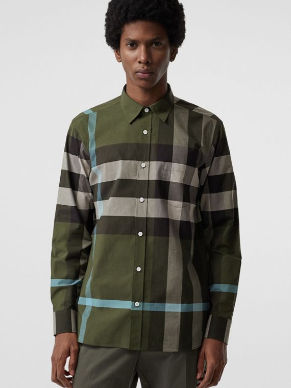 Check Stretch Cotton Shirt in Antique Green