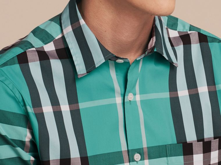 Short-sleeved Check Stretch Cotton Shirt in Cyan Green - Men | Burberry Canada - cell image 4