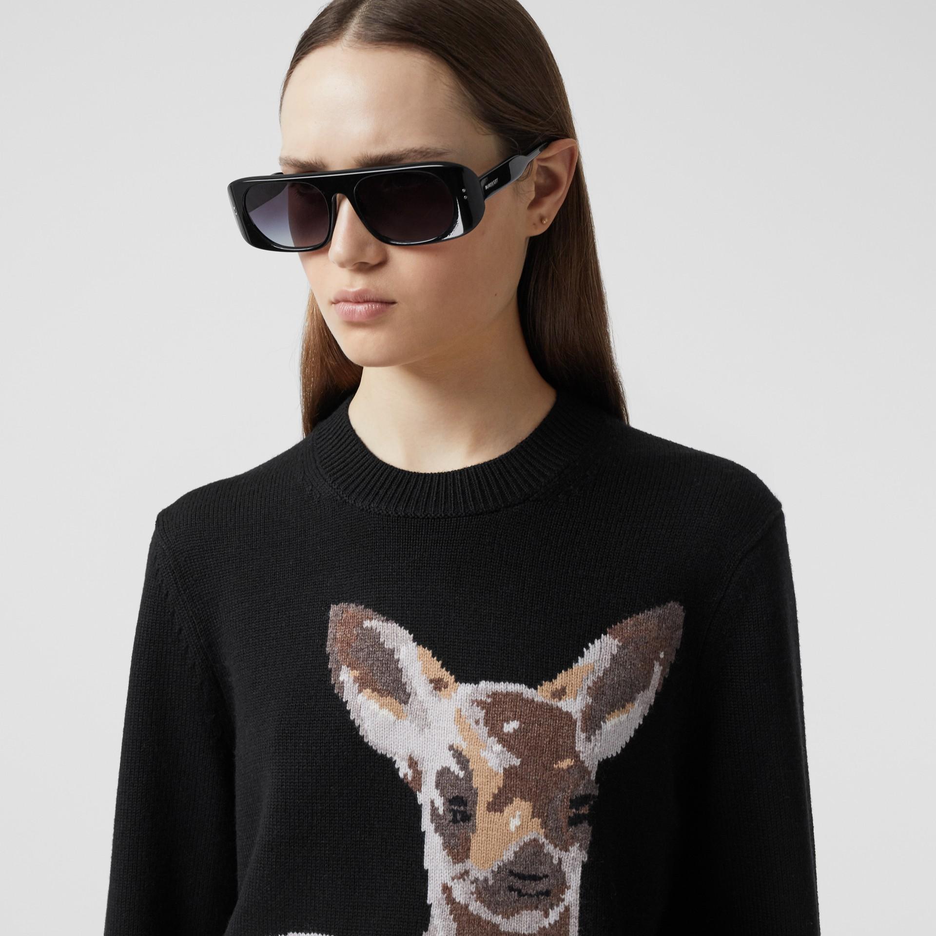 Deer Intarsia Wool Sweater in Black | Burberry - gallery image 1