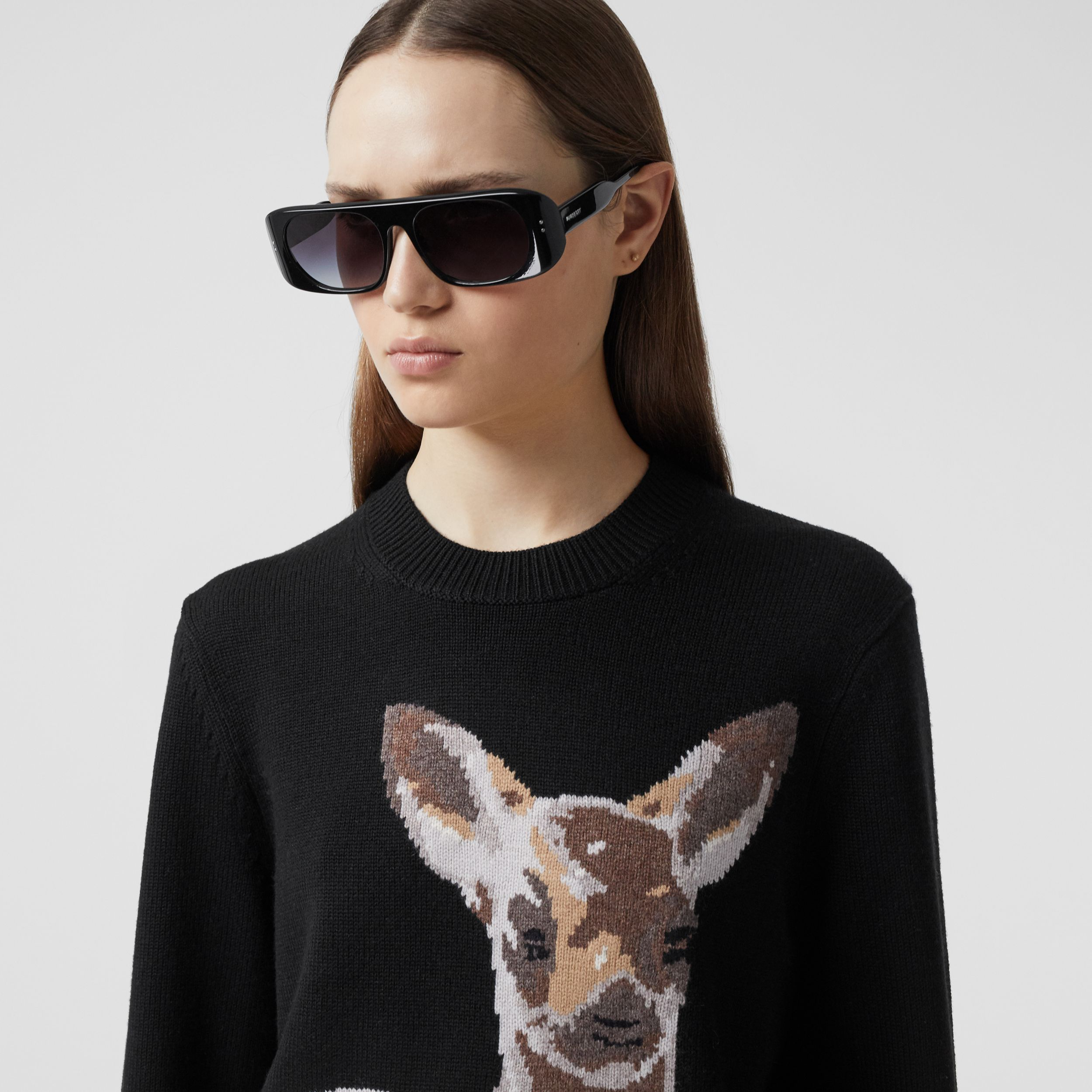 Deer Intarsia Wool Sweater in Black | Burberry - 2