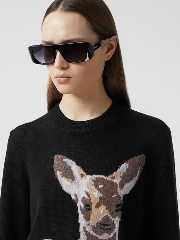 Deer Intarsia Wool Sweater in Black | Burberry - cell image 1