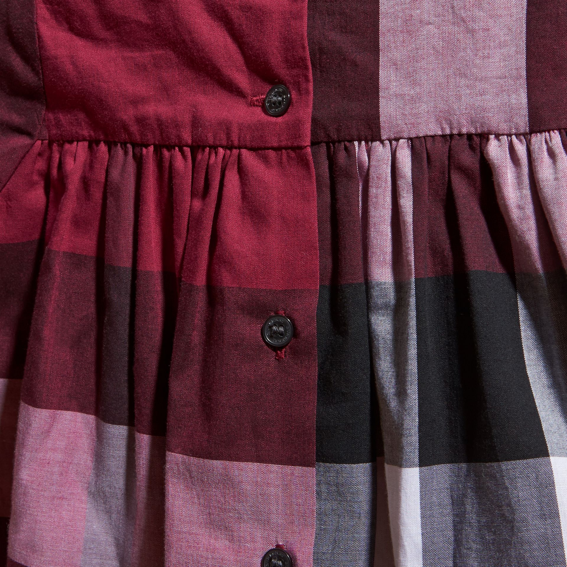 Dark plum pink Check Cotton Dress with Ruffle Detail Dark Plum Pink - gallery image 2
