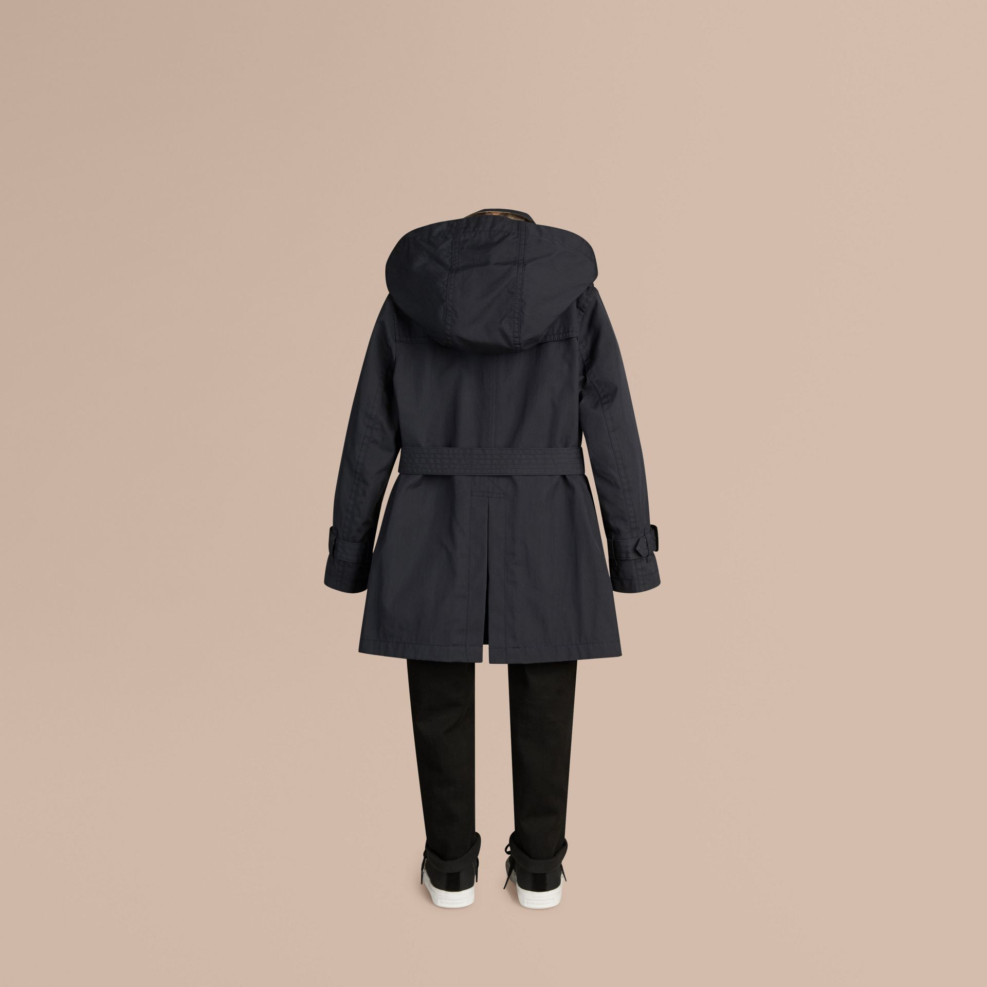 Hooded Cotton Twill Trench Coat Navy - gallery image 4