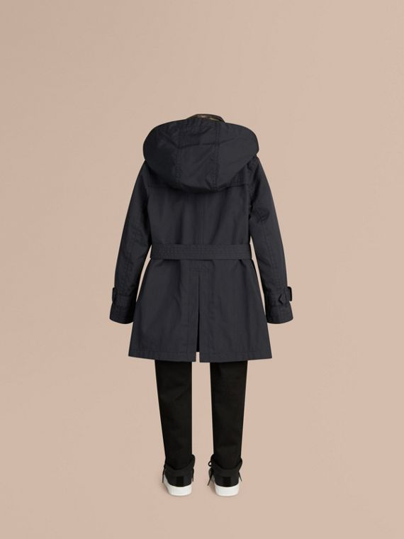 Hooded Cotton Twill Trench Coat in Navy | Burberry - cell image 3