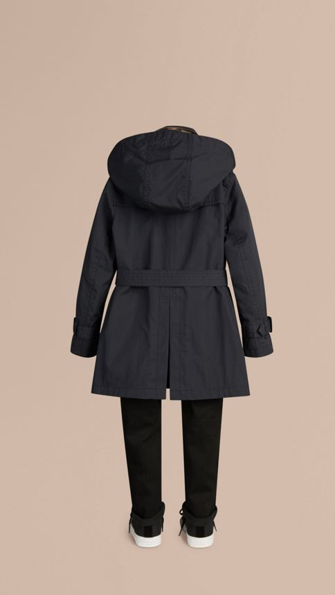Marine Trench-coat à capuche en sergé de coton Marine - Image 4