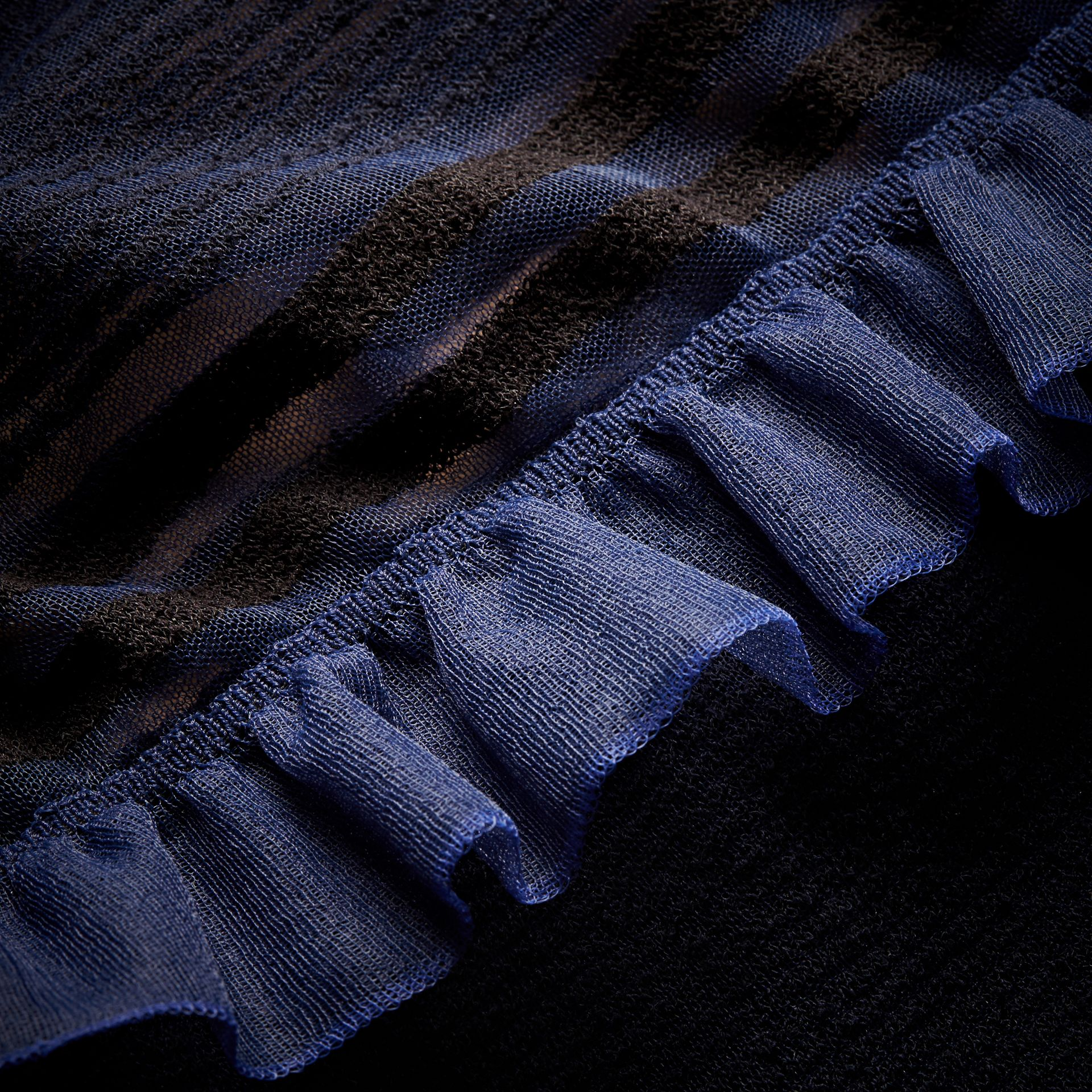 Black/navy Sheer Striped Sweater with Ruffles - gallery image 2