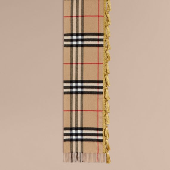 Camel The Classic Cashmere Scarf in Check with tassels - cell image 3