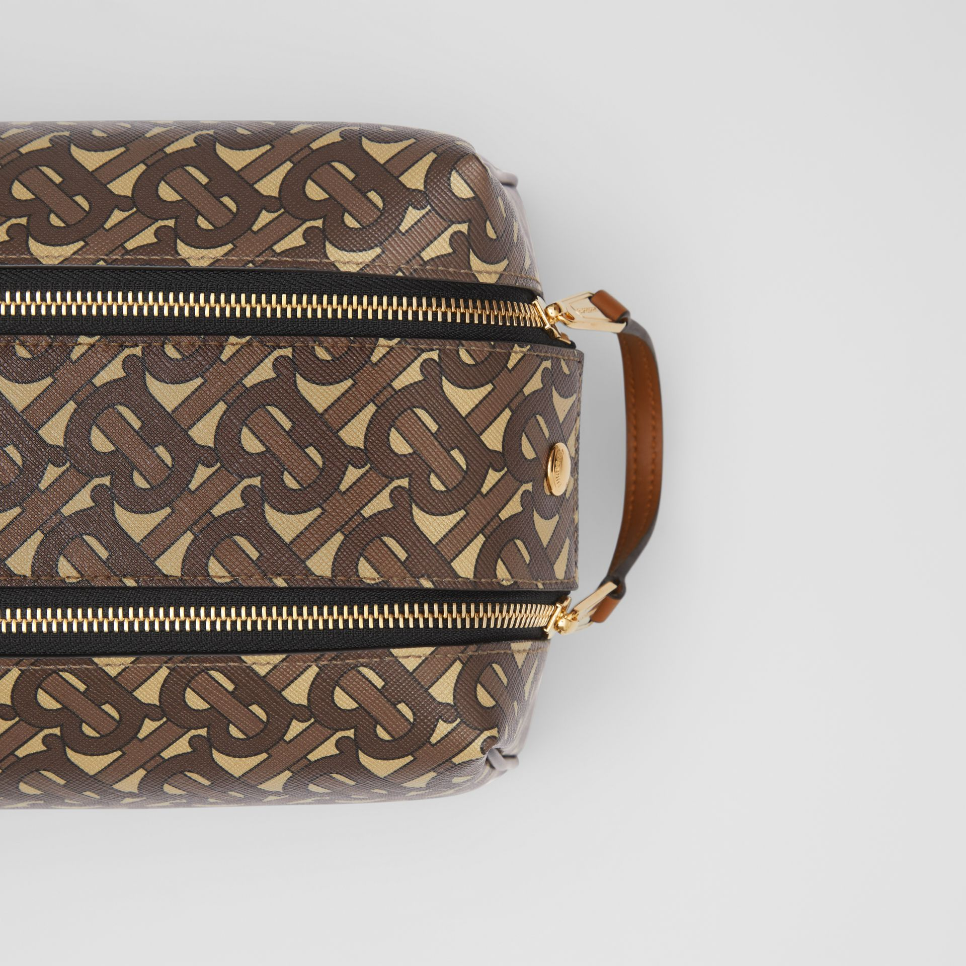 Monogram Print E-canvas Travel Pouch in Bridle Brown | Burberry - gallery image 1