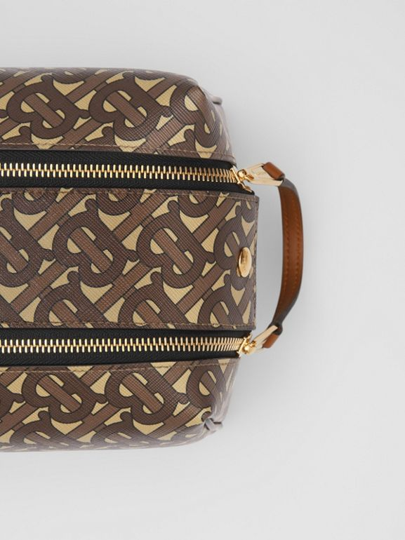 Monogram Print E-canvas Travel Pouch in Bridle Brown | Burberry Australia - cell image 1