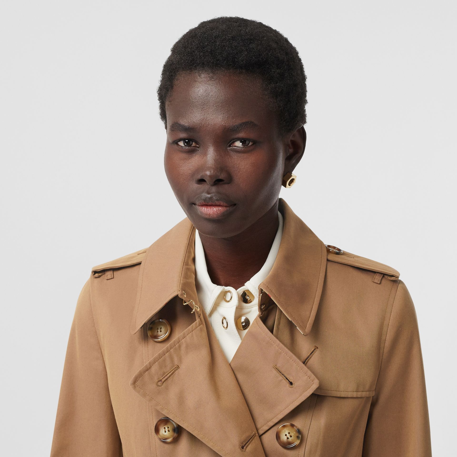 Cotton Gabardine Trench Coat in Warm Taupe - Women | Burberry - gallery image 1
