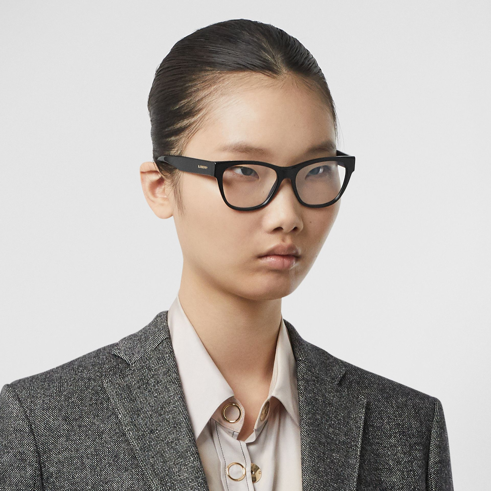 Square Optical Frames in Black - Women | Burberry United Kingdom - gallery image 2