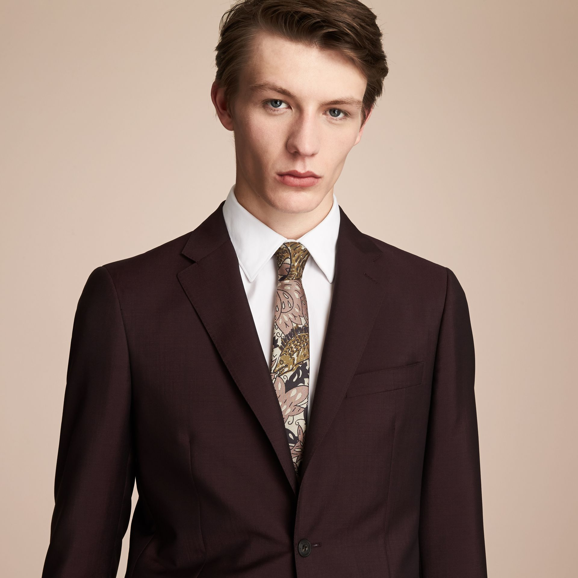 Slim Cut Beasts Silk Jacquard Tie in Antique Taupe Pink - Men | Burberry - gallery image 3