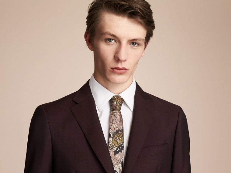 Slim Cut Beasts Silk Jacquard Tie in Antique Taupe Pink - Men | Burberry - cell image 2