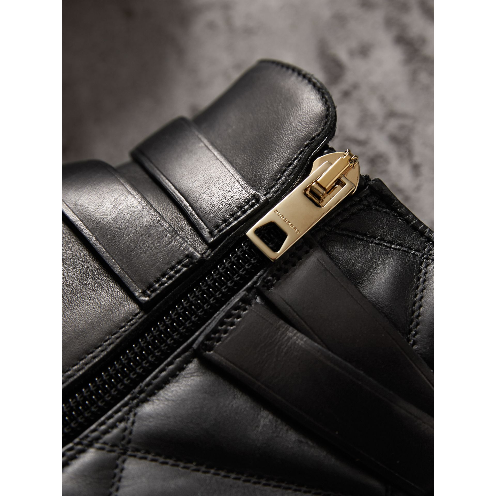 Strap Detail Quilted Leather Ankle Boots in Black - Women | Burberry Australia - gallery image 1