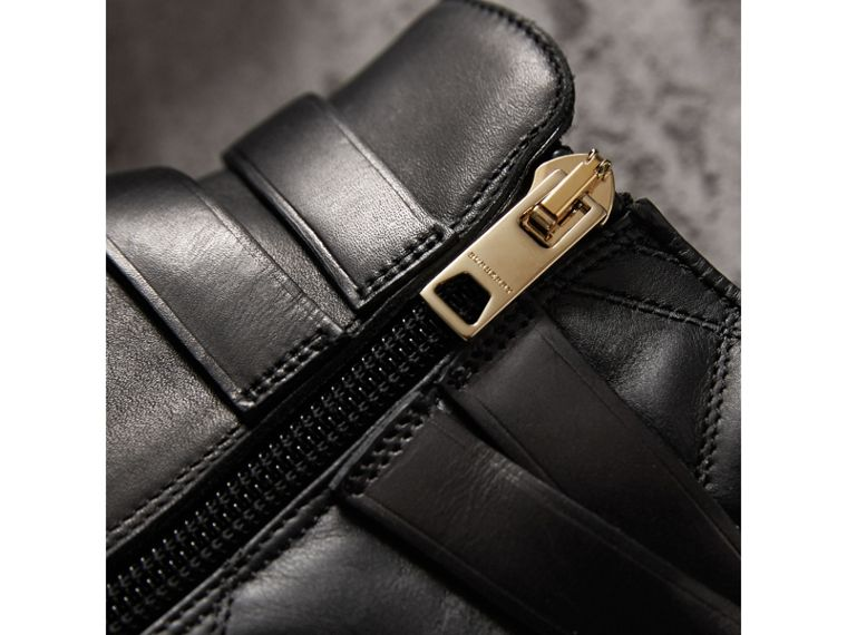 Strap Detail Quilted Leather Ankle Boots in Black - Women | Burberry Australia - cell image 1