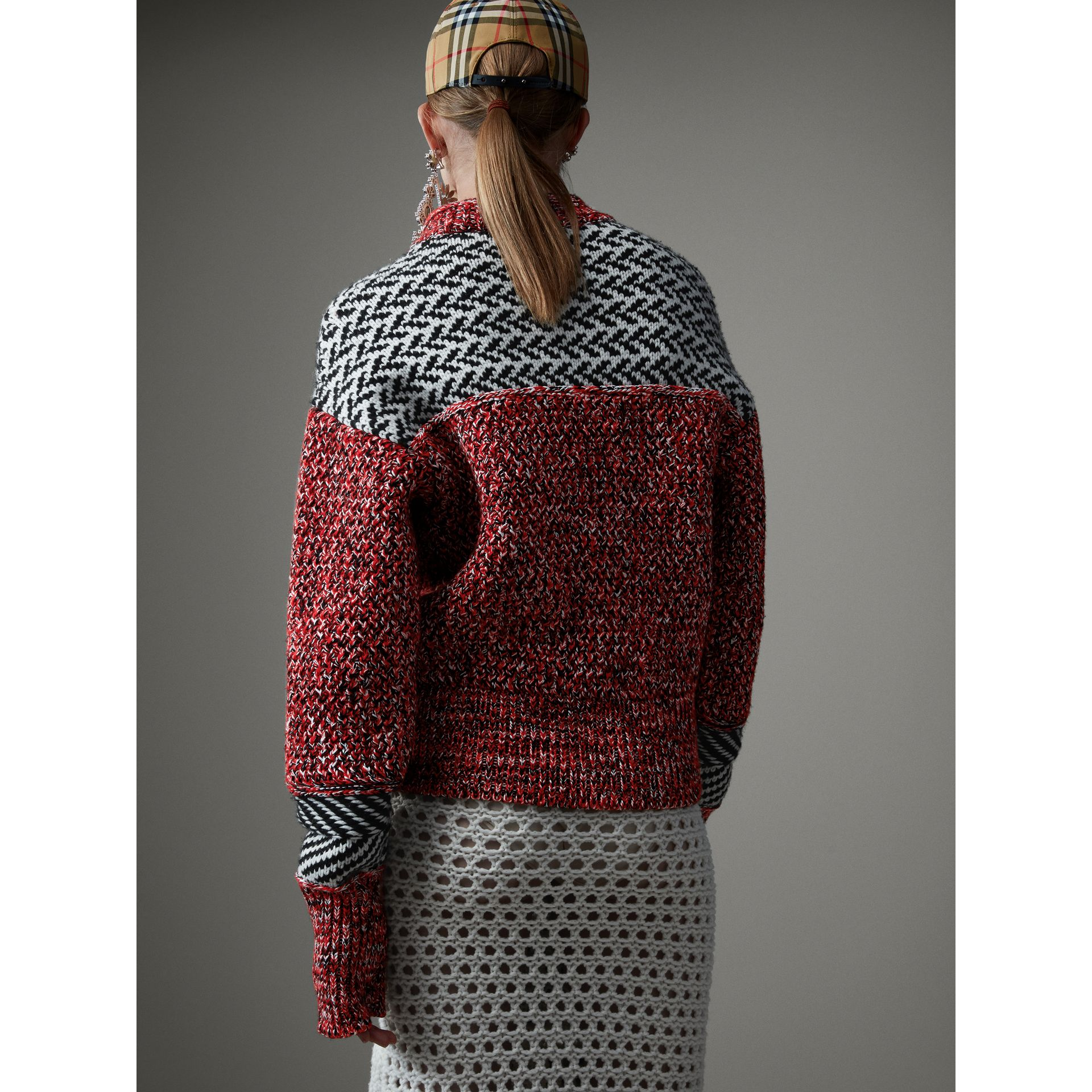 Geometric Cotton Wool Cashmere Mouliné Sweater in Red/black - Women | Burberry Canada - gallery image 2