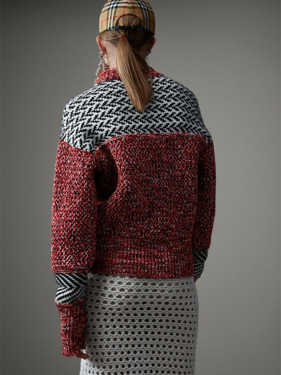 Geometric Cotton Wool Cashmere Mouliné Sweater in Red/black - Women | Burberry Hong Kong - cell image 2