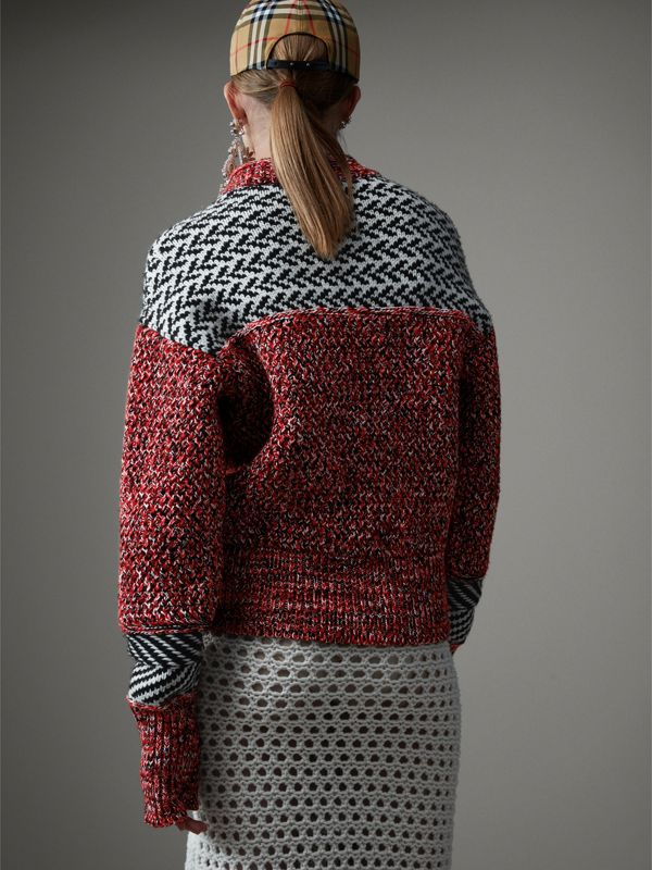 Geometric Cotton Wool Cashmere Mouliné Sweater in Red/black - Women | Burberry - cell image 2