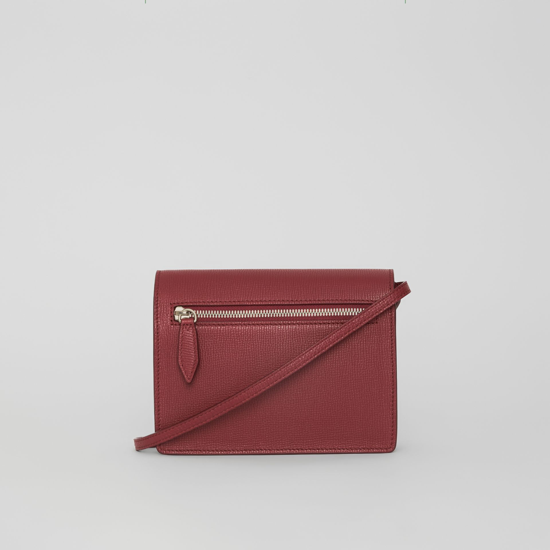 Mini Leather and Vintage Check Crossbody Bag in Crimson - Women | Burberry Australia - gallery image 6