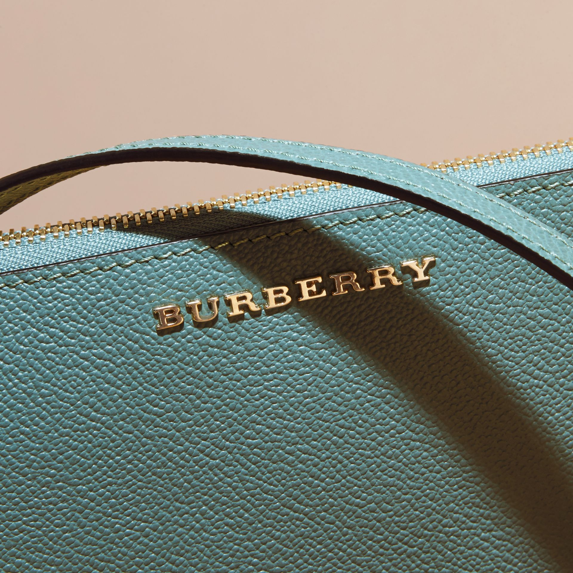 Leather Clutch Bag with Check Lining in Eucalyptus Green - Women | Burberry - gallery image 2