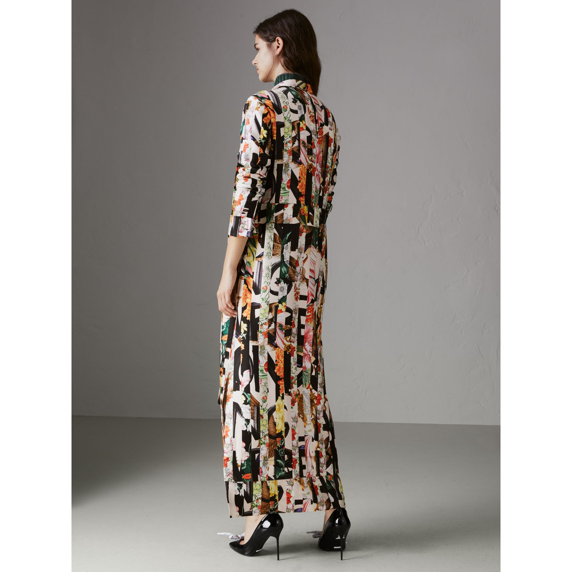 Graffiti Archive Scarf Print Silk Tie-neck Dress in Multicolour - Women | Burberry - gallery image 2
