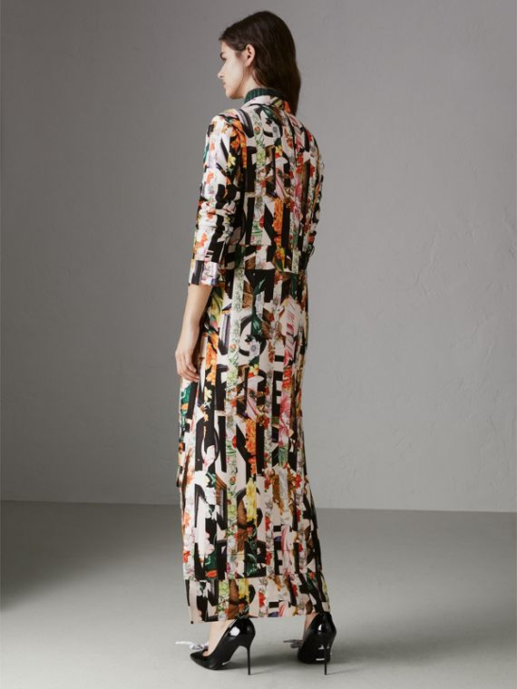 Graffiti Archive Scarf Print Silk Tie-neck Dress in Multicolour - Women | Burberry Hong Kong - cell image 2