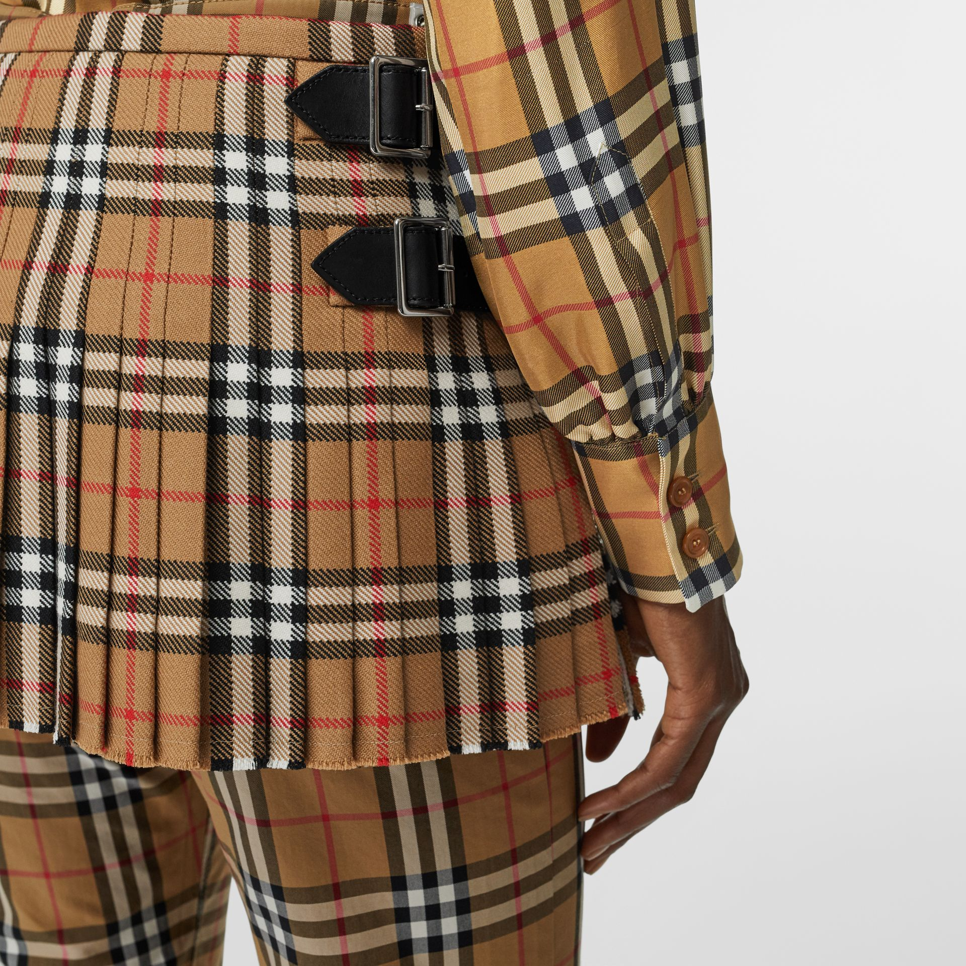 Vintage Check Wool Mini Kilt in Antique Yellow | Burberry - gallery image 1