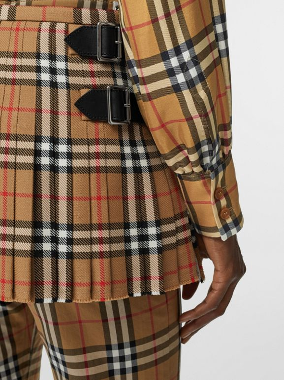 Vintage Check Wool Mini Kilt in Antique Yellow | Burberry - cell image 1