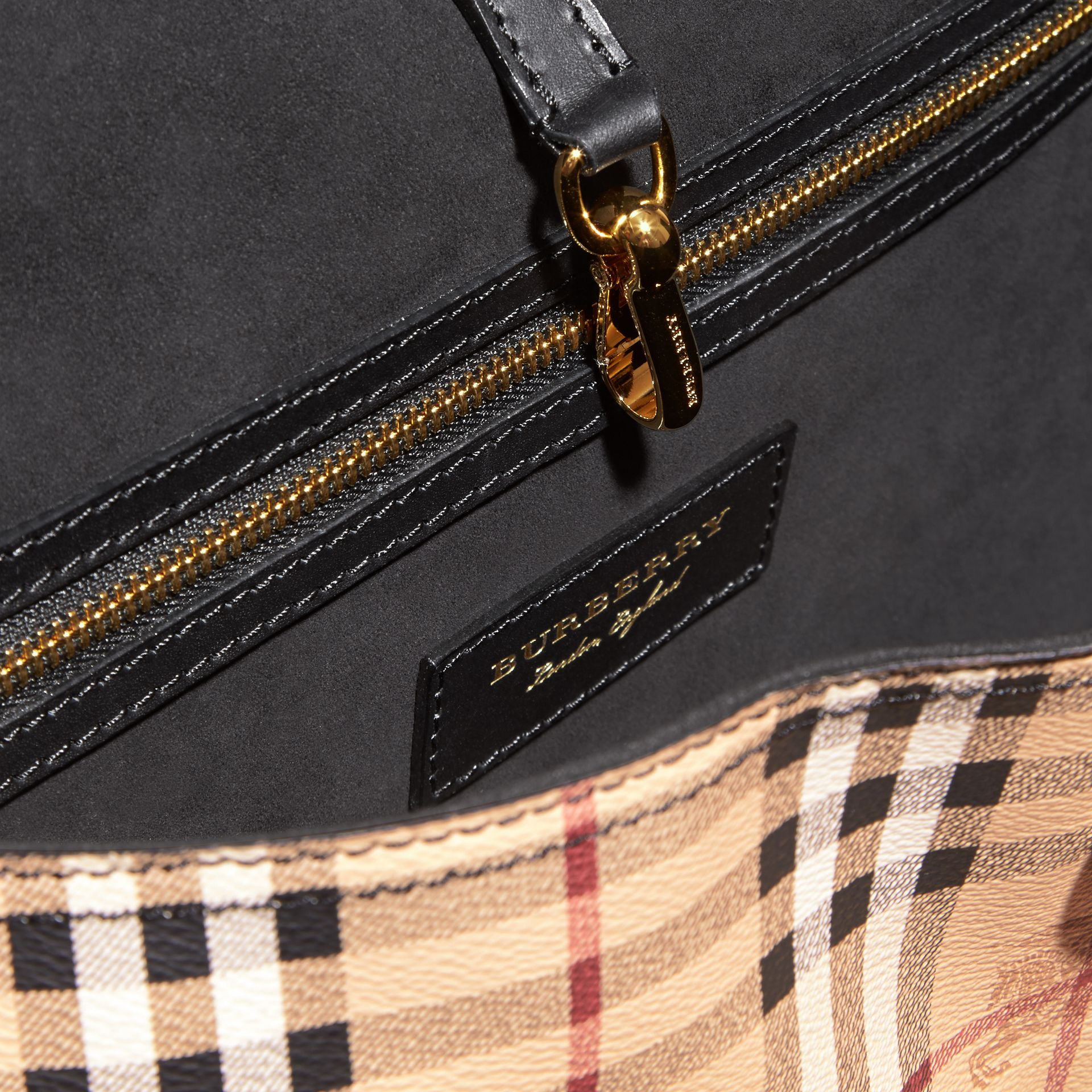 The Medium Bridle in Leather and Haymarket Check in Black - Men | Burberry - gallery image 5