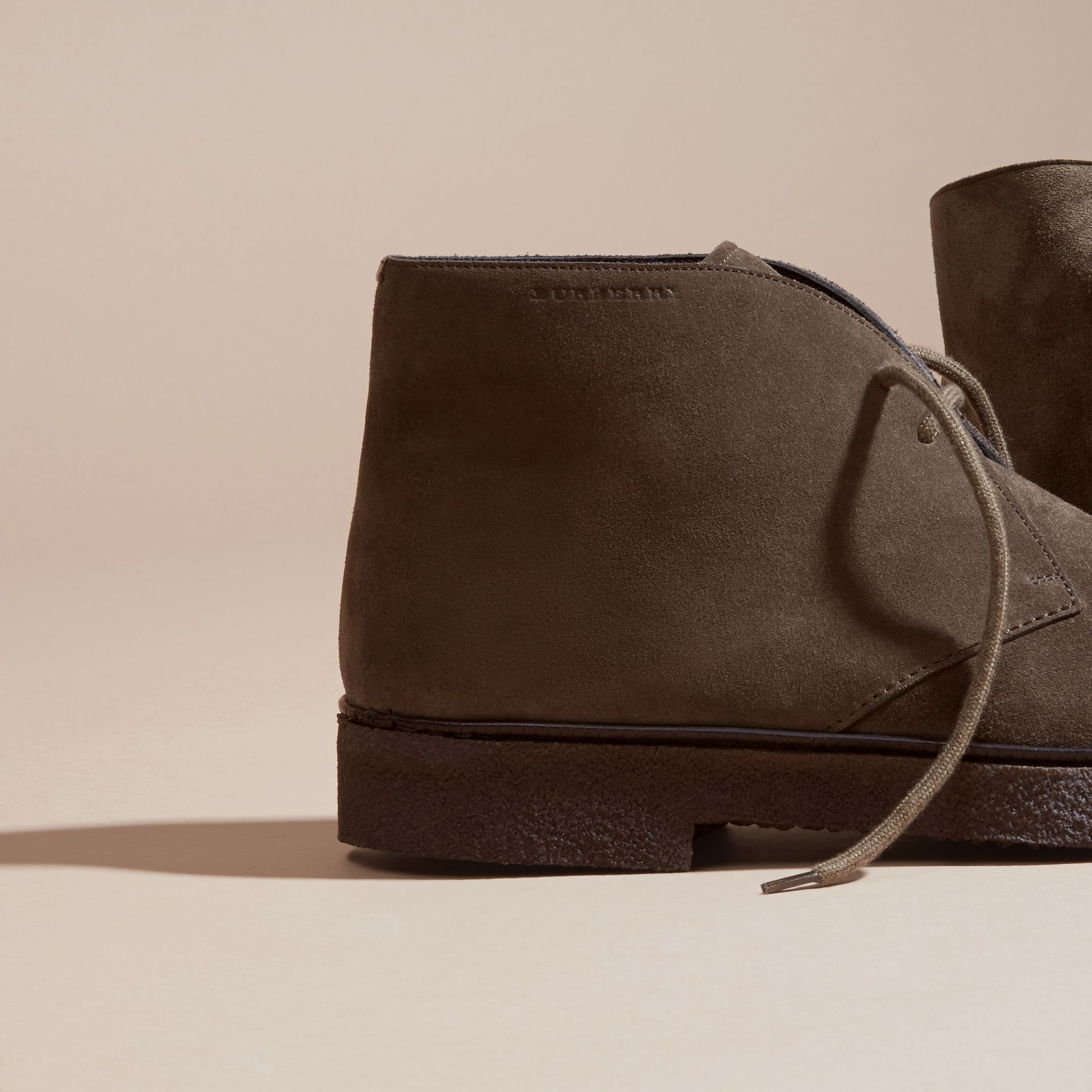 Crepe Sole Suede Desert Boots in Khaki - gallery image 2