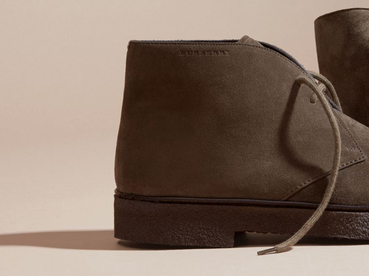 Crepe Sole Suede Desert Boots in Khaki - cell image 1