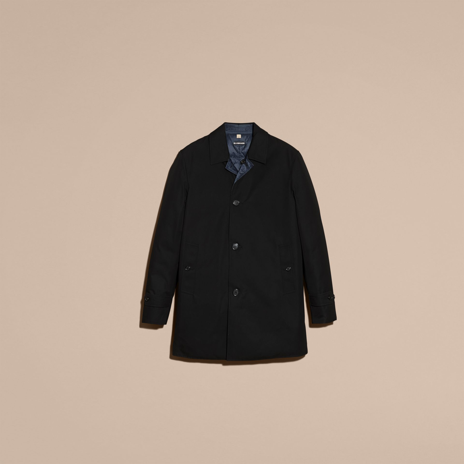 Black Reversible Down-filled Cotton Gabardine Car Coat - gallery image 4