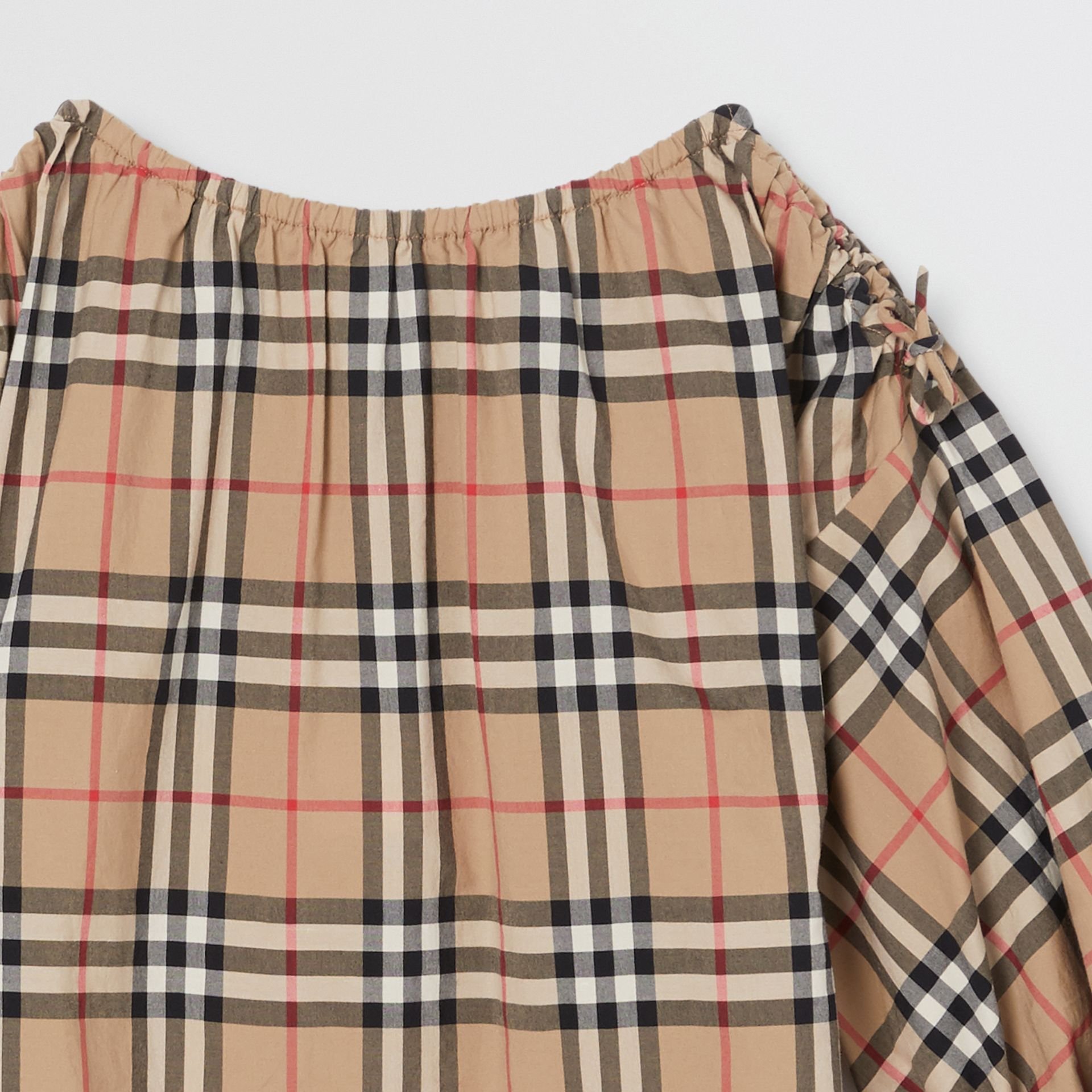 Gathered Sleeve Vintage Check Cotton Dress in Archive Beige | Burberry Australia - gallery image 4