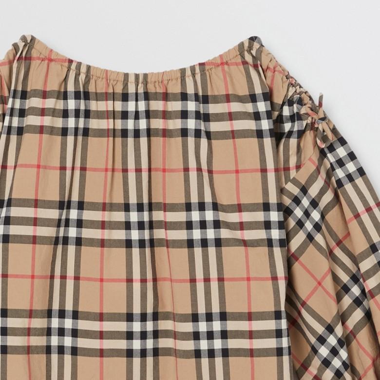 Burberry - Robe en coton Vintage check avec manches froncées - 5